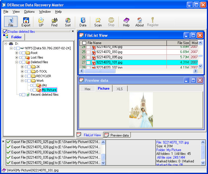 Click to view DERescue Data Recovery Master 2.76 screenshot